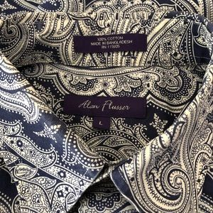 Alan Flusser Men's Navy Blue Paisley Shirt